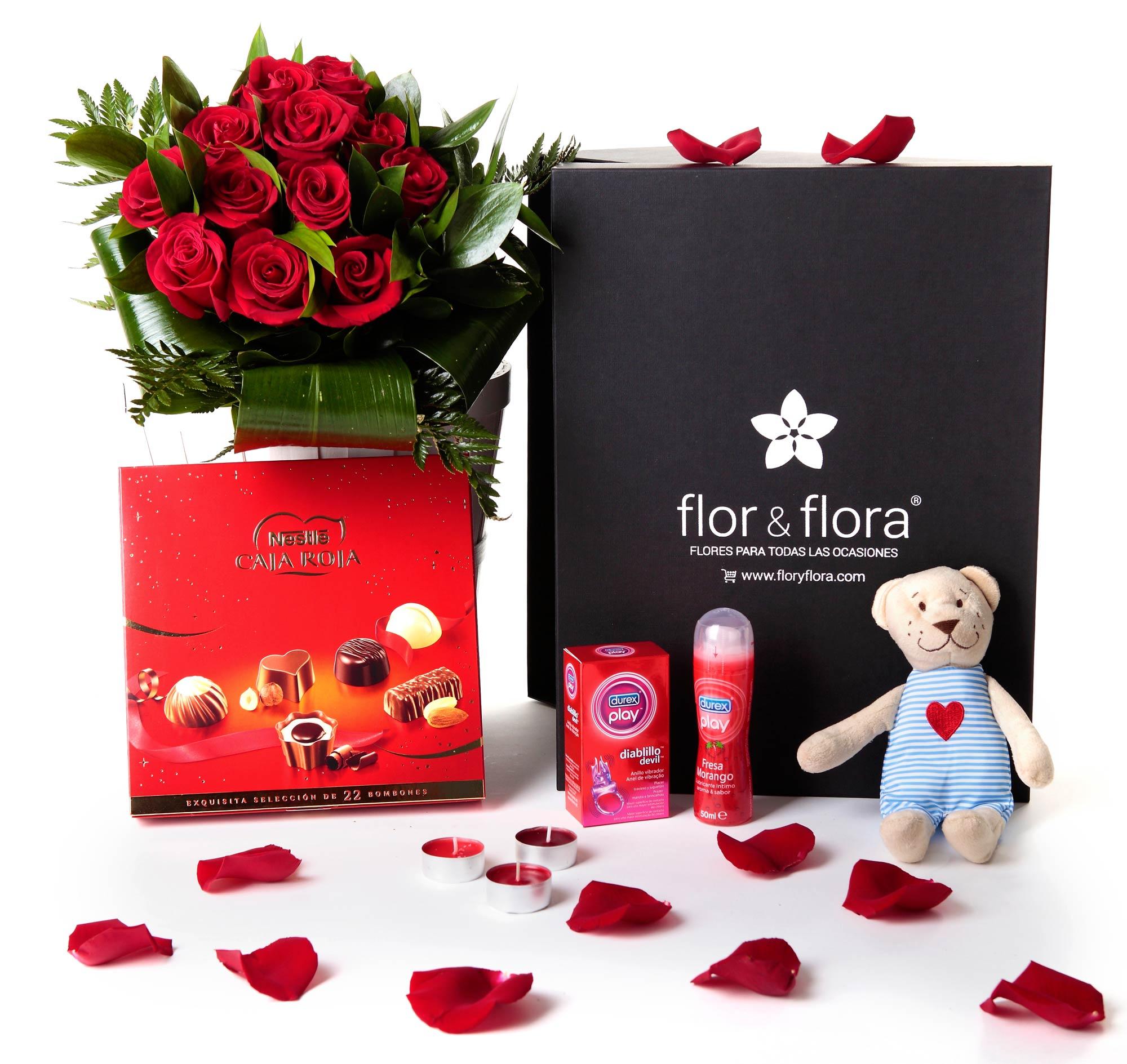 Caja regalo rosas rojas san valent n picante cajas for Que regalar por san valentin