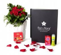 Caja regalo 10 rosas rojas + durex + regalo