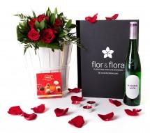 Caja regalo 6 rosas rojas + vino blanco + regalo