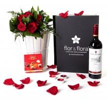 Caja regalo 6 rosas rojas + vino Rioja + regalo