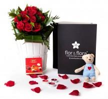 Caja regalo rosas rojas San Valentín