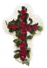Cruz flores con rosas tanatorio